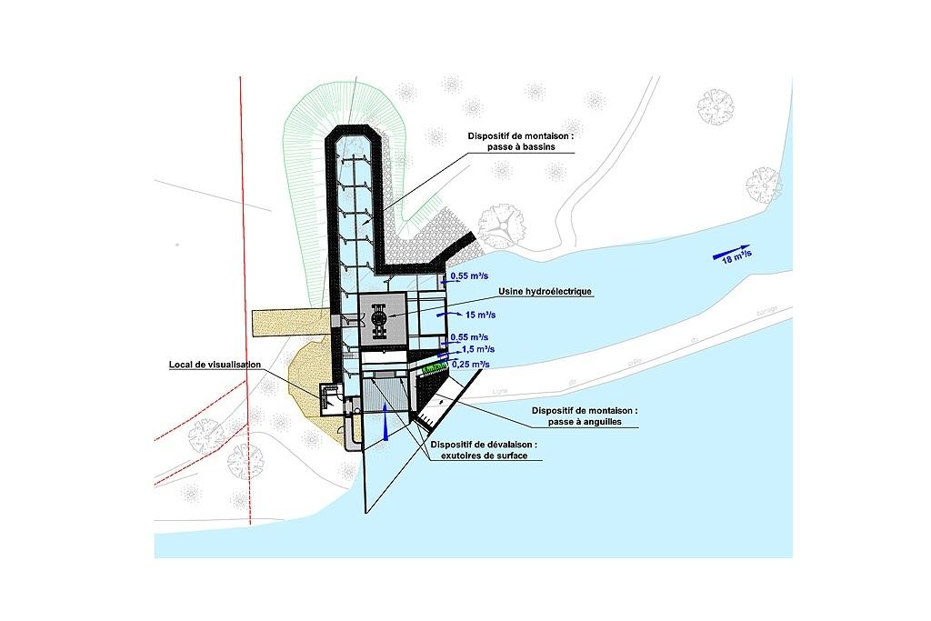 Plan d'ensemble de la future micro-centrale électrique en cours de construction